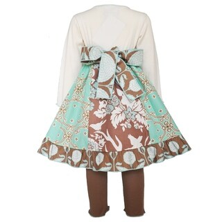AnnLoren Girl's Cotton Lace Gathered Dress