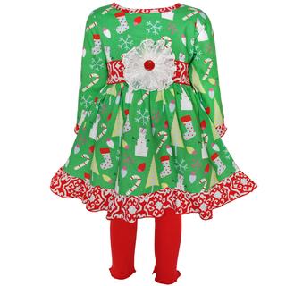 AnnLoren Girls' Christmas Dress with Red Leggings Set