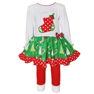 AnnLoren Girls' Christmas Stocking Drop-waist Dress and Legging Set