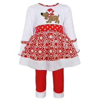 AnnLoren Girls' White Christmas Dog Knit Dress Outfit