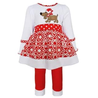 AnnLoren Girls' White Christmas Dog Knit Dress Outfit|https://ak1.ostkcdn.com/images/products/11961977/P18847128.jpg?impolicy=medium