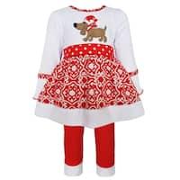 AnnLoren Girls' White Christmas Dog Knit Dress Outfit