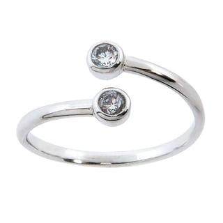 Eternally Haute Vortex White Brass Bezel-set Cubic Zirconia Wrap Ring