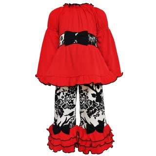 Ann Loren Girls' Red/Black/Off-white Cotton Jersey Tunic with Woven Pants Set