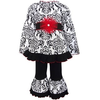 AnnLoren Girls' Dandi Damask Tunic and Pant Outfit