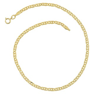 Fremada 10k Yellow Gold 2.5-mm High Polish Hollow Flat Link Anklet (10 inches)