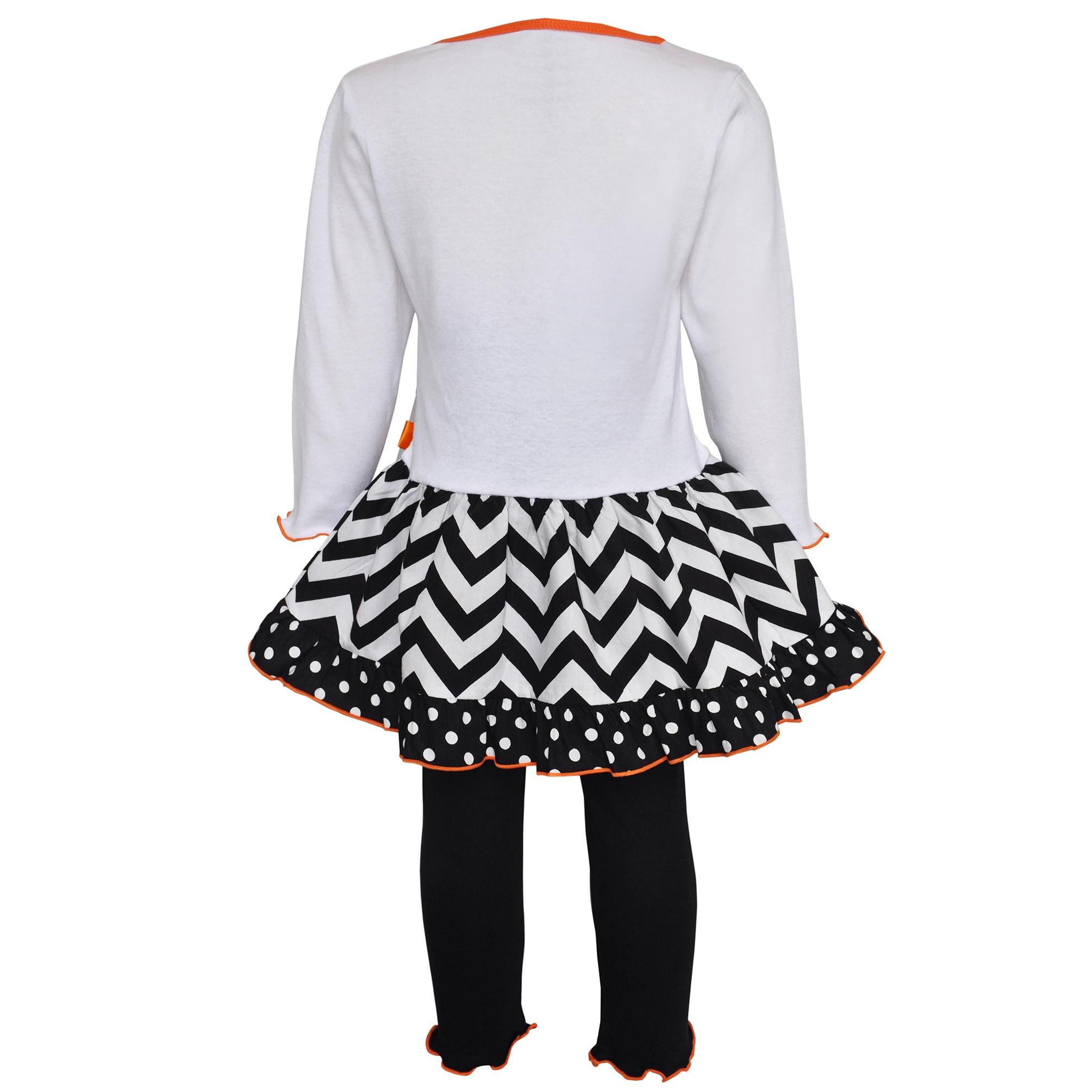 AnnLoren AnnLoren Girls' Pumpkin and Kitten Knit Dress Se...