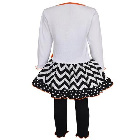 AnnLoren Girls' Halloween Pumpkin and Kitten Knit Dress Set
