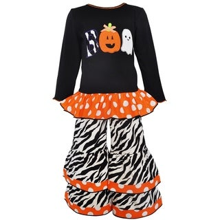 Ann Loren Girls' White/Black/Orange Cotton Halloween Knit Tunic and Pant Set