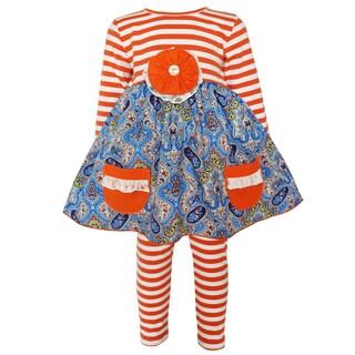 AnnLoren Girl's Orange, White, Blue Cotton Stripe Knit Top and Legging Set