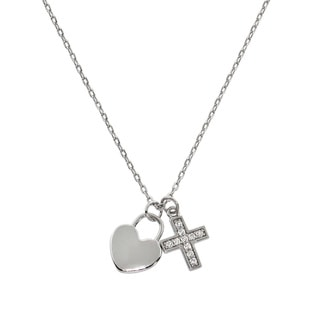 Eternally Haute Silver Brass Cubic Zirconia Pave Cross and Heart Charm Pendant Necklace