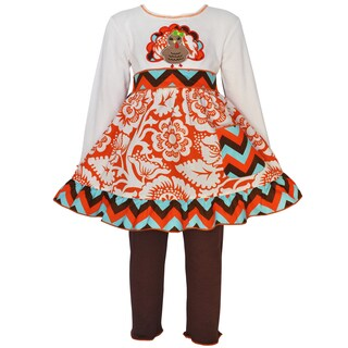 AnnLoren Girl's Thanksgiving Blossom Turkey Dress Set