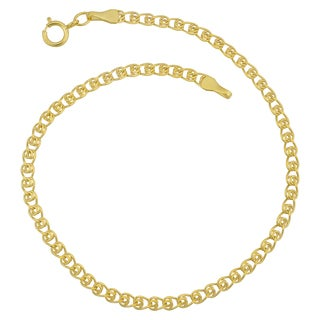 Fremada 10k Yellow Gold 2.7-mm Delicate Hollow Love LInk Anklet (10 inches)