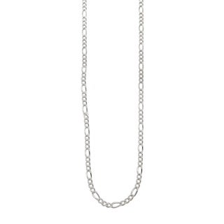 Eternally Haute White Italian Solid Sterling Silver Figaro Chain
