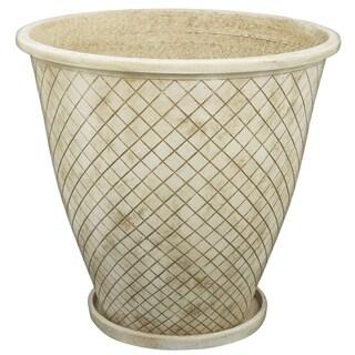 Rhombi Antique White Cement 17-inch x 16-inch Medium Planter