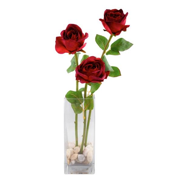 Silk/Glass 3-rose Arrangement in 16-inch x 3.25-inch Glass Cube