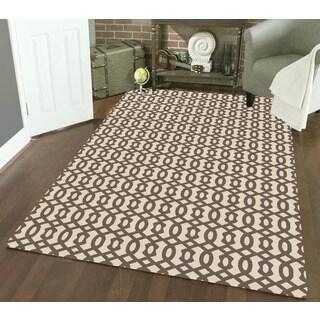 Admire Home Living Bronte Ivory Olefin Geometric Area Rug (7'10 x 10'6)