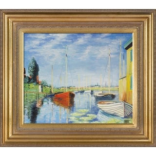 Claude Monet 'Argenteuil, Yachts 02' Hand Painted Framed Canvas Art