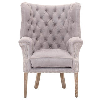 Gray Manor Zachary Grey Wood and Leather Club Chair