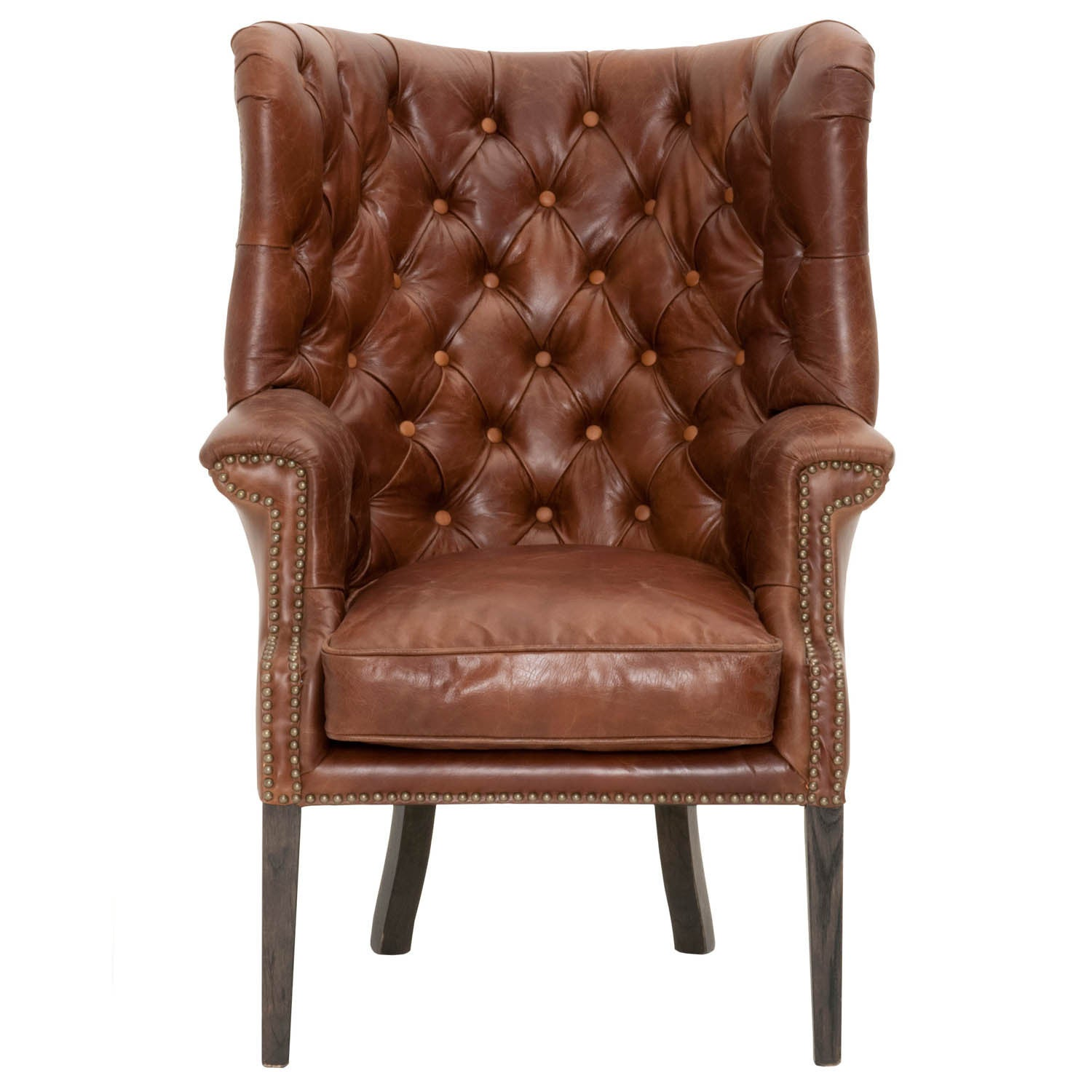 Gray Manor Zachary Club Chair (Chestnut), Brown (Leather)