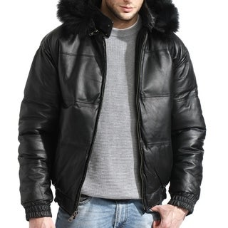 Tanners Avenue Men's Bomber Black Leather Jacket