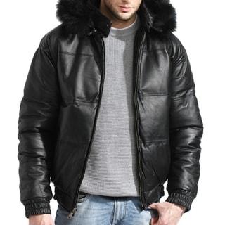 Tanners Avenue Men's Bomber Black Leather Jacket