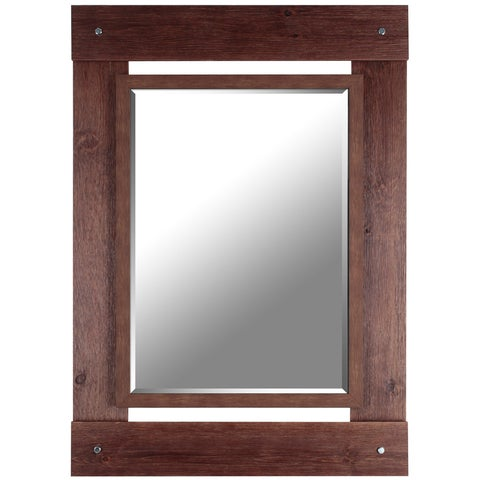 Hobbitholeco. 30x43 Brown Wash Beveled Mirror (Inner mirror 20X28)