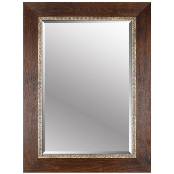 Hobbitholeco 34x46 Brown Emboss Beveled Mirror Inner