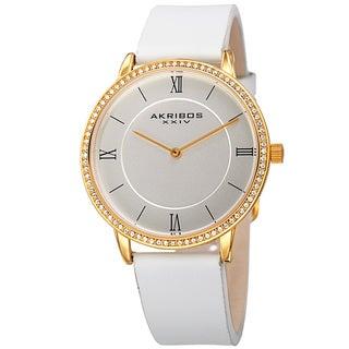 Akribos XXIV Women's Quartz Swarovski Crystal Leather White Strap Watch