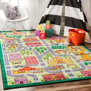 nuLOOM Playtime City Street Map Educational Multi Kids Area Rug (5' x 7'5)