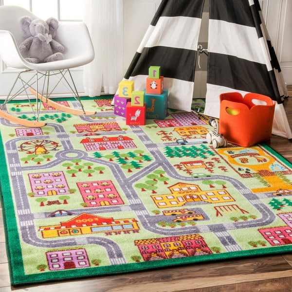 NuLOOM Playtime City Street Map Educational Multi Kids Area Rug (5u0026#x27; ...