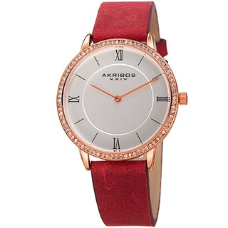 Akribos XXIV Women's Quartz Swarovski Crystal Leather Red Strap Watch
