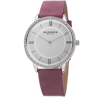 Akribos XXIV Women's Quartz Swarovski Crystal Leather Purple Strap Watch