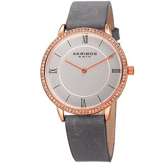 Akribos XXIV Women's Quartz Swarovski Crystal Leather Gray Strap Watch