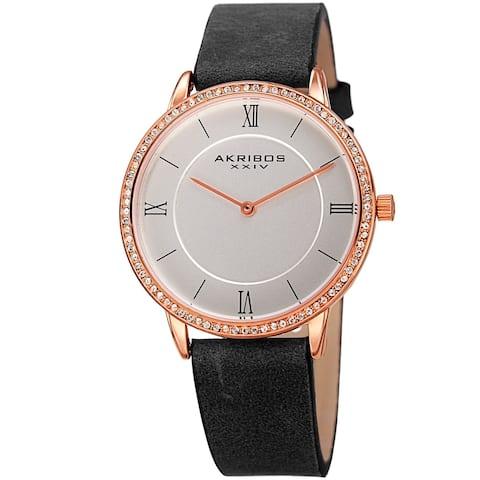 Akribos XXIV Women's Quartz Swarovski Crystal Leather Black Strap Watch