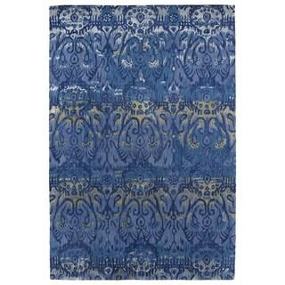 Hand-Tufted Wool & Viscose Anastasia Blue Ikat Rug (8' x 11')