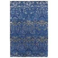 Hand-Tufted Wool & Viscose Anastasia Blue Ikat Rug - 8' x 11'