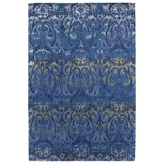 "Hand-Tufted Wool & Viscose Anastasia Blue Ikat Rug (3'6"" x 5'6"")"