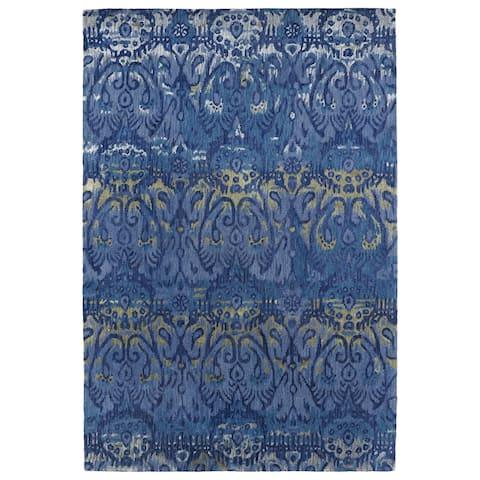 Hand-Tufted Wool & Viscose Anastasia Blue Ikat Rug (2'0 x 3'0) - 2' x 3'