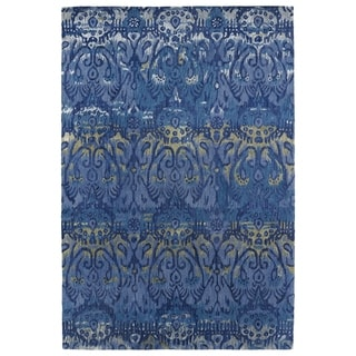 Hand-Tufted Wool & Viscose Anastasia Blue Ikat Rug (2'0 x 3'0)