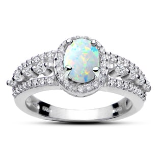 Glitzy Rocks Sterling Silver Created Gemstone and White Topaz Oval Ring