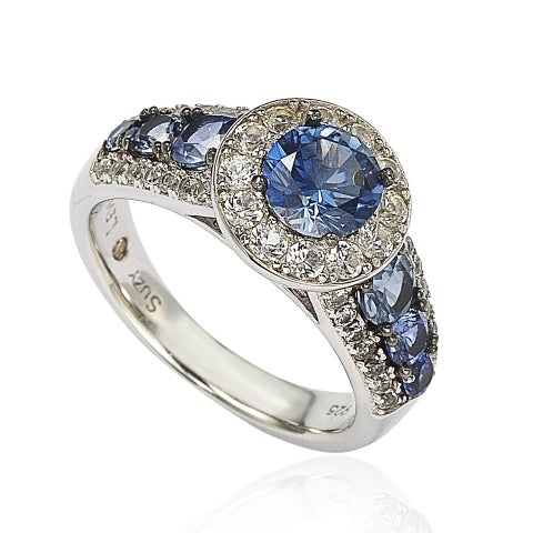 Suzy Levian Sterling Silver 3.61ct TGW Sapphire and Diamond Bridal Engagement Ring