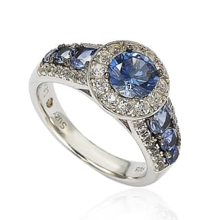 suzy levian sterling silver 361ct tgw sapphire and diamond bridal engagement ring - Gemstone Wedding Rings