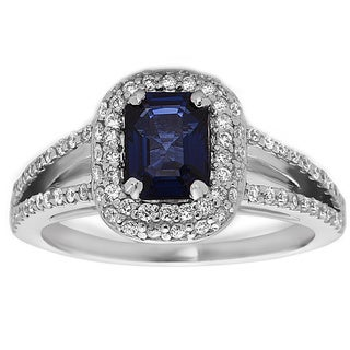 14k White Gold Sapphire and 1/2ct TDW Diamond Ring (H-I, SI1-SI2)