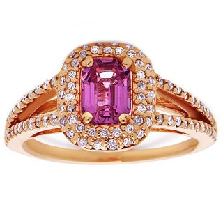 14k Rose Gold Pink Sapphire and 1/2ct TDW Diamond Ring (H-I, SI1-SI2)