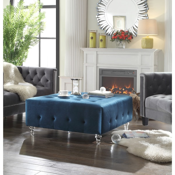 Shop Chic Home Samson Clear Acrylic Legs Velvet Button Tufted Ottoman On Sale Free Shipping