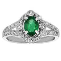 14k White Gold Emerald and 2/5ct TDW Diamond Ring (H-I, SI1-SI2)