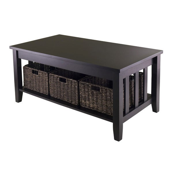 Winsome Morris Espresso Wood Storage Coffee Table With 3 Foldable Baskets Free Shipping Today