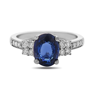 Sapphire and Diamond 14k White Gold Ring