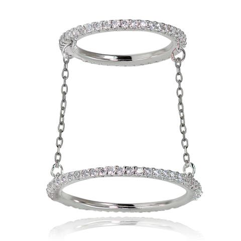 Icz Stonez Sterling Silver Cubic Zirconia Chain Link Midi Ring